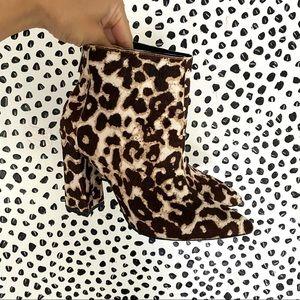 Charles David leopard block heel booties